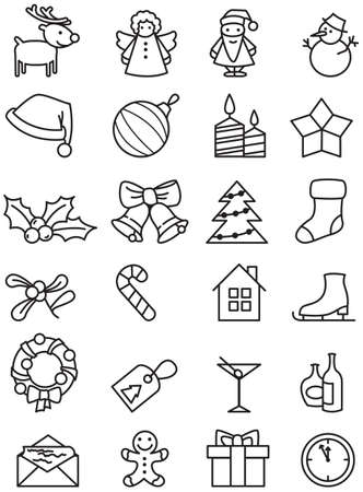 Set of minimalistic Christmas icons. Vector