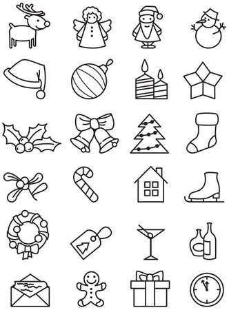 wreaths: Set of minimalistic Christmas icons. Illustration