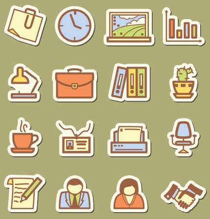 Stickers with minimalistic offise icons set Vector