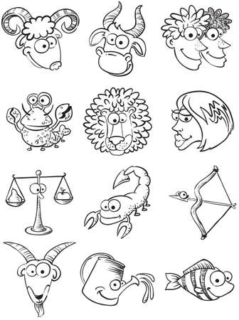 Set of doodle cute zodiac symbols  Vector