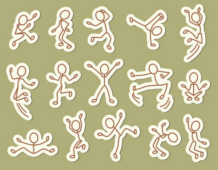body outline: Doodle dancing people icons set.
