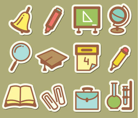 test paper: Set with education stickers icons