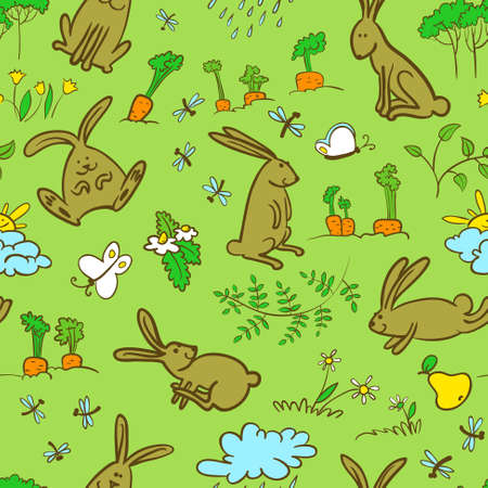 Cute spring seamless background with bunnies Vector