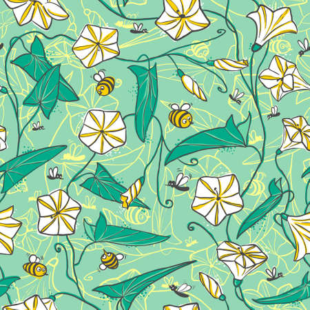 bellflower: Floral seamless pattern with bellflower and bees
