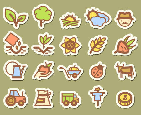 Agriculture and farm stickers icons set Vector