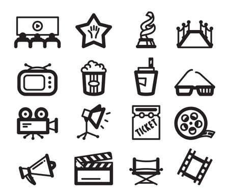 minimalistic: Cinema minimalistic icons set