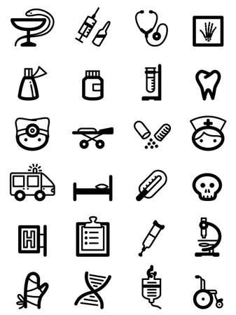 emergency kit: Set with minimalistic medical icons