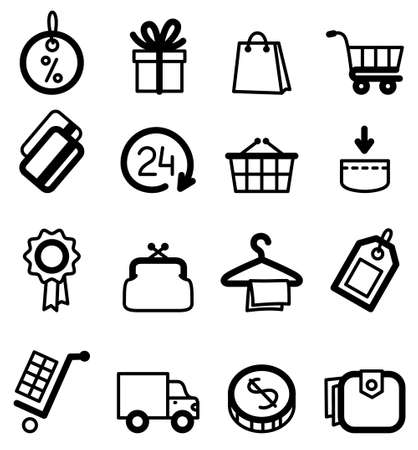 Black minimalistic shopping icons set Vector