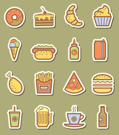 Fast food minimalistic icons set Vector