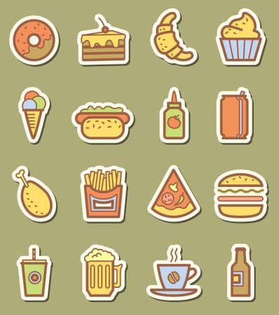 minimalistic: Fast food minimalistic icons set Illustration