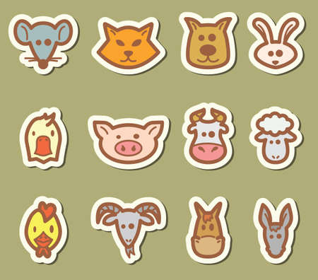 Domestic animals icons set Vector