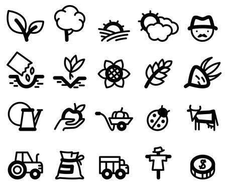 black pictogram: Agriculture and farm minimalistic icons set