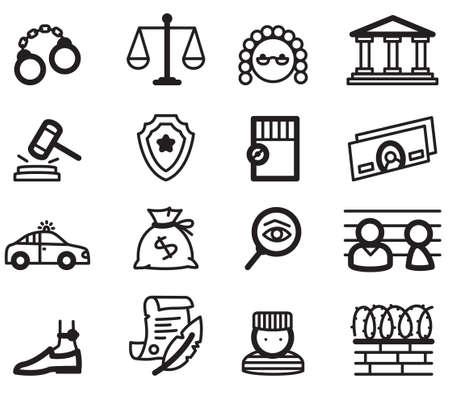 courthouse: Justice minimalistic icons Illustration
