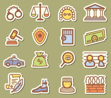 Justice icons set Vector