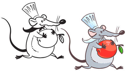 Doodle and colorful rat cook with apple Vector