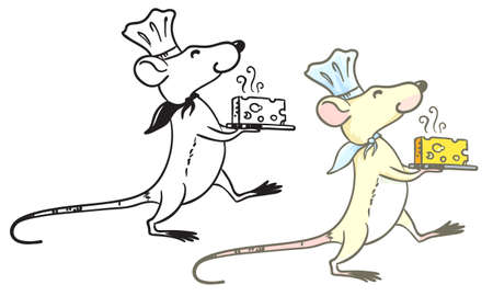 Doodle and colorful rat cook with cheese Vector