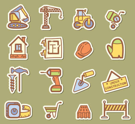 Building (construction) icons set Vector