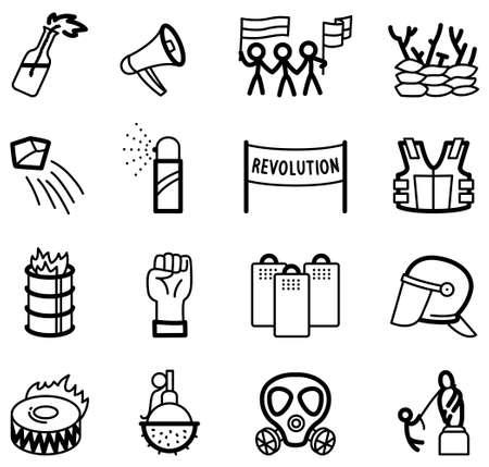 Revolution icons set Vector