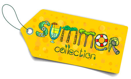 Shopping tag with summer lettering Vector