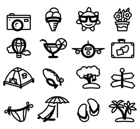 Summer minimalistic glyphs (icons) set Vector