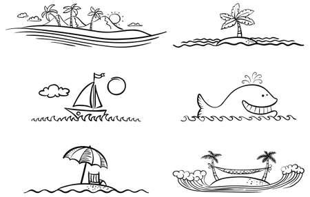 Black and white summer beach design elements Vector