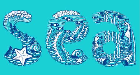 foam bubbles: Doodle sea lettering Illustration