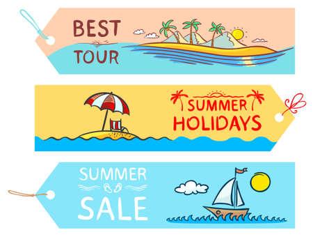 Doodle summer labels set Vector