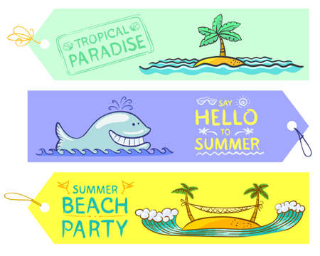 Doodle summer banners set Vector