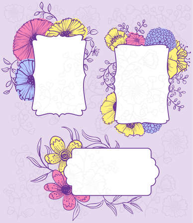 Abstract doodle floral banners set  Vector