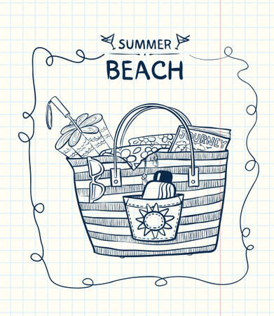 Doodle beach bag with summer gear Vector