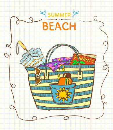 Hand-drawn beach bag with summer gear Vector