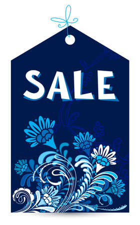 Floral abstract sale tag Vector