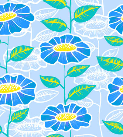 yelow: Blue and yelow floral seamless background Illustration