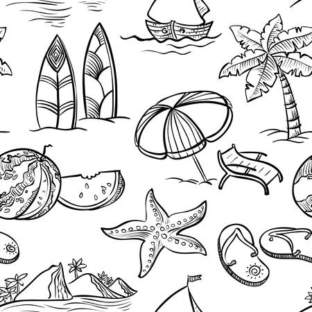 siervo: Blanco y negro del doodle del verano patrón transparente Vectores