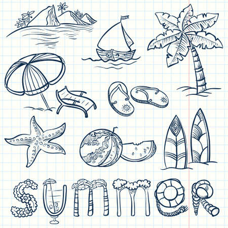 beach scene: Summer doodles set