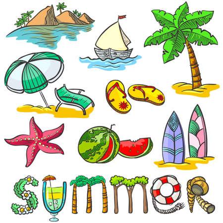 cartoon palm tree: Colorful summer doodles set Illustration