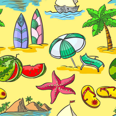 Cute doodle summer seamless pattern Vector