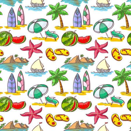 siervo: Linda doodle verano patrón transparente