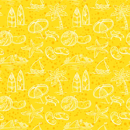Vintage sketchy summer seamless pattern Vector