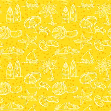 serf: Vintage sketchy summer seamless pattern Illustration