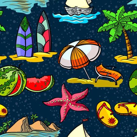 serf: Cute doodle summer seamless pattern
