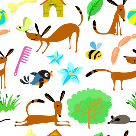 Cute seamless pattern with animals Vector