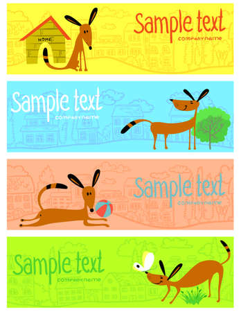 Banners set with cute dogs Vector