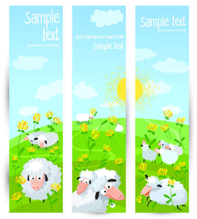 Floral vertical banners set with sheeps Vector