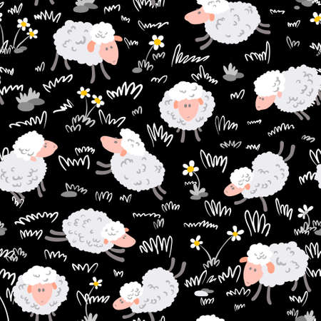 Cute cartoon seamless pattern with sheep Vector