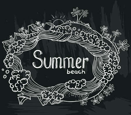 Chalkboard poster with tropical summer Vector