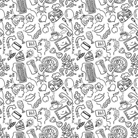 Dating and romance doodle seamless pattern Vector