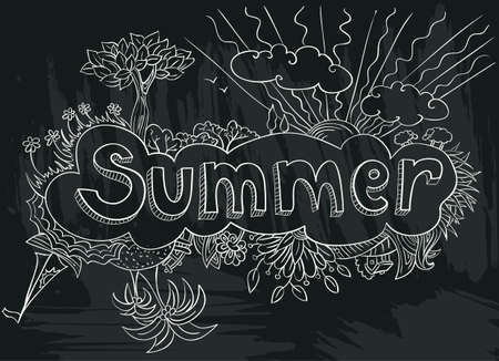 chalkboard poster with summer doodle hand-drawn lettering Vector
