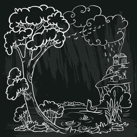 chalkboard poster with autumn doodle frame Illustration