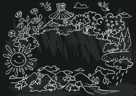 summer nature: chalkboard poster with summer nature frame Illustration
